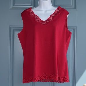 Dk. Red Double Lace Tank by Coldwater Creek Sz. XL